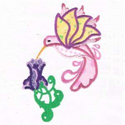 Himmingbird Flower Applique embroidery design