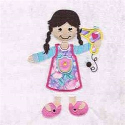 Hair Dryer GIrl Applique embroidery design