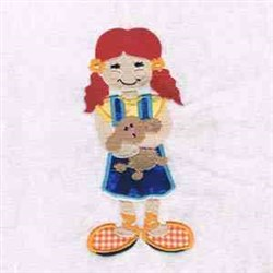 Girl Puppy Applique embroidery design