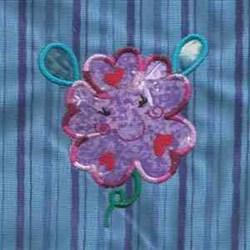 Smile Flower Applique embroidery design