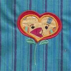 Applique Flower Heart embroidery design