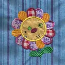 Applique Flower Happy embroidery design