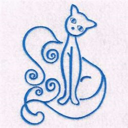 Swirl Kitty Cat embroidery design