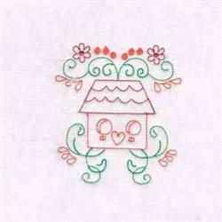 Bird House Swirls embroidery design