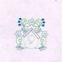 Swirl Bird House embroidery design