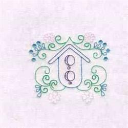 Bird House Flowers embroidery design