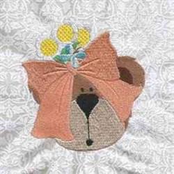 Bear Bow embroidery design