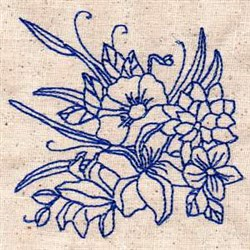 Flowers Bluework embroidery design