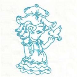 Bluework Girl Bird embroidery design