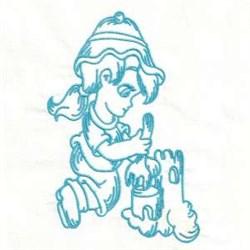 Bluework Girl Castle embroidery design