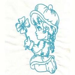 Bluework Girl Flower embroidery design
