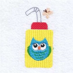 Bottle Owl embroidery design