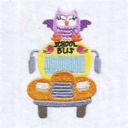 School Bus Owl embroidery design