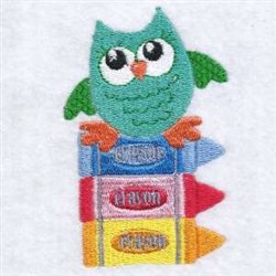 Crayons Owl embroidery design