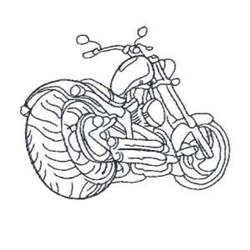 Outline Motorcycle Bike embroidery design