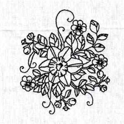 Outline Bloom embroidery design