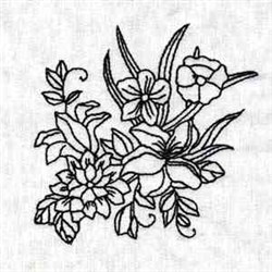 Floral Outline embroidery design