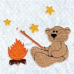 Campfire Bear embroidery design