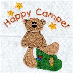 Happy Camper Bear embroidery design