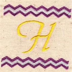 Chevron H embroidery design