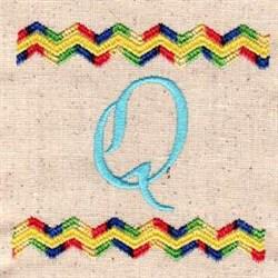 Chevron Q embroidery design