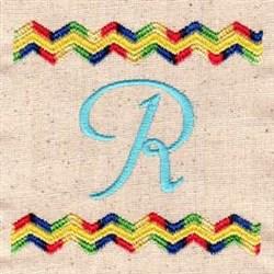 Chevron R embroidery design