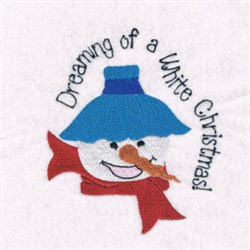 White Christmas Snowman embroidery design