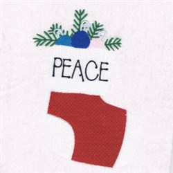 Peace Stocking embroidery design