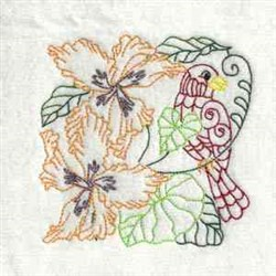 Colorful Bird Flower embroidery design