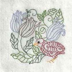 Bird Flower embroidery design