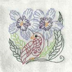 Flowers Bird embroidery design