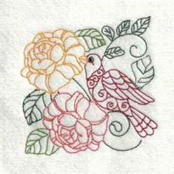 Outline Bird Flowers embroidery design
