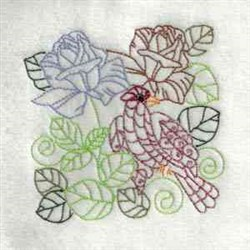 Bird Flowers Outline embroidery design