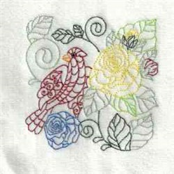 Colorful Outline Bird embroidery design