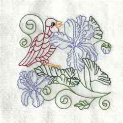 Colorful Floral Bird embroidery design
