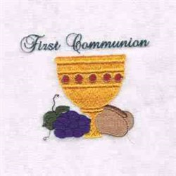 First Communion Cup embroidery design
