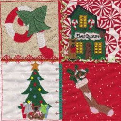 Christmas House Square embroidery design