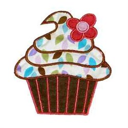 Leafy Cupcake embroidery design