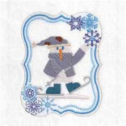 Skiing Snowman Frame embroidery design