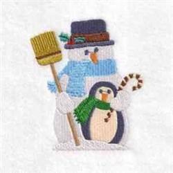Penguin Snowman embroidery design