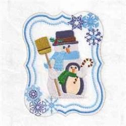 Penguin Snowman Frame embroidery design