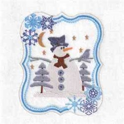 Snowman Trees Frame embroidery design