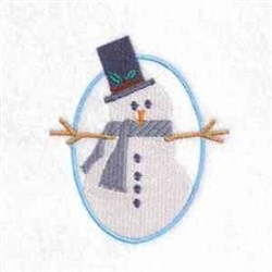 Oval Snowman embroidery design