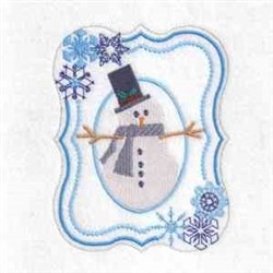 Oval Snowman Frame embroidery design
