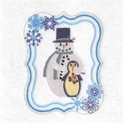 Snowman Penguin Frame embroidery design