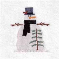 Winter Snowman Tree  embroidery design