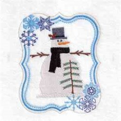 Winter Snowman Tree Frame embroidery design