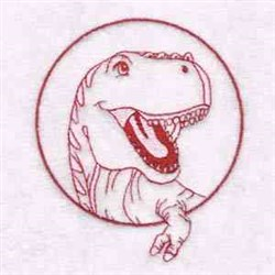 T Rex Circle embroidery design