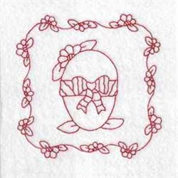 Redwork Floral Egg embroidery design