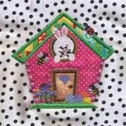 Bunny House Applique embroidery design